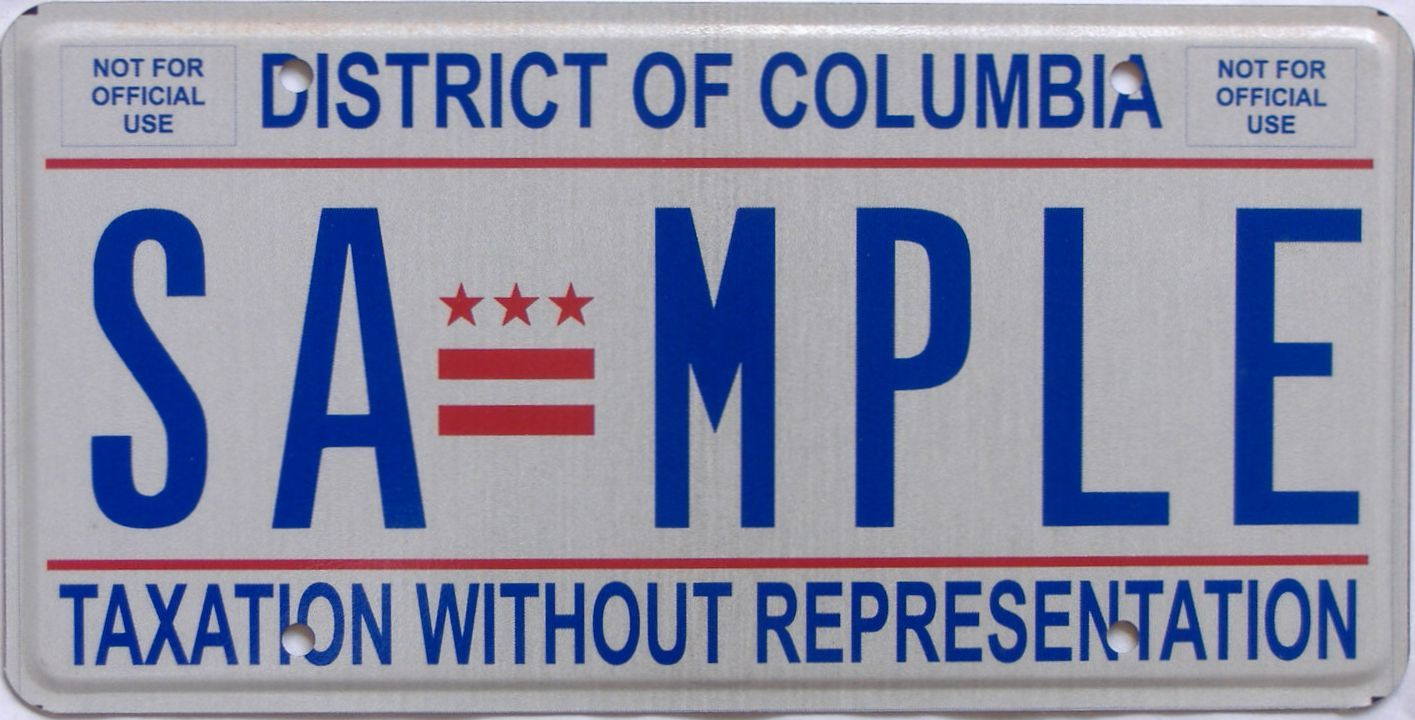 District Of Columbia (Sample) license plate for sale
