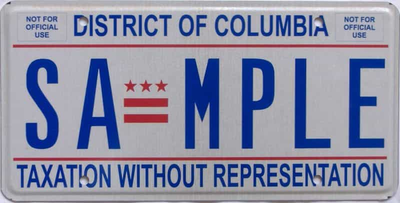 DC (Sample) license plate for sale