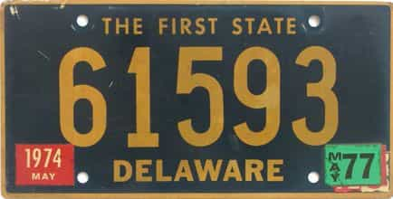1977 Delaware license plate for sale