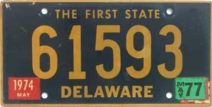 1977 Delaware license plate for sale