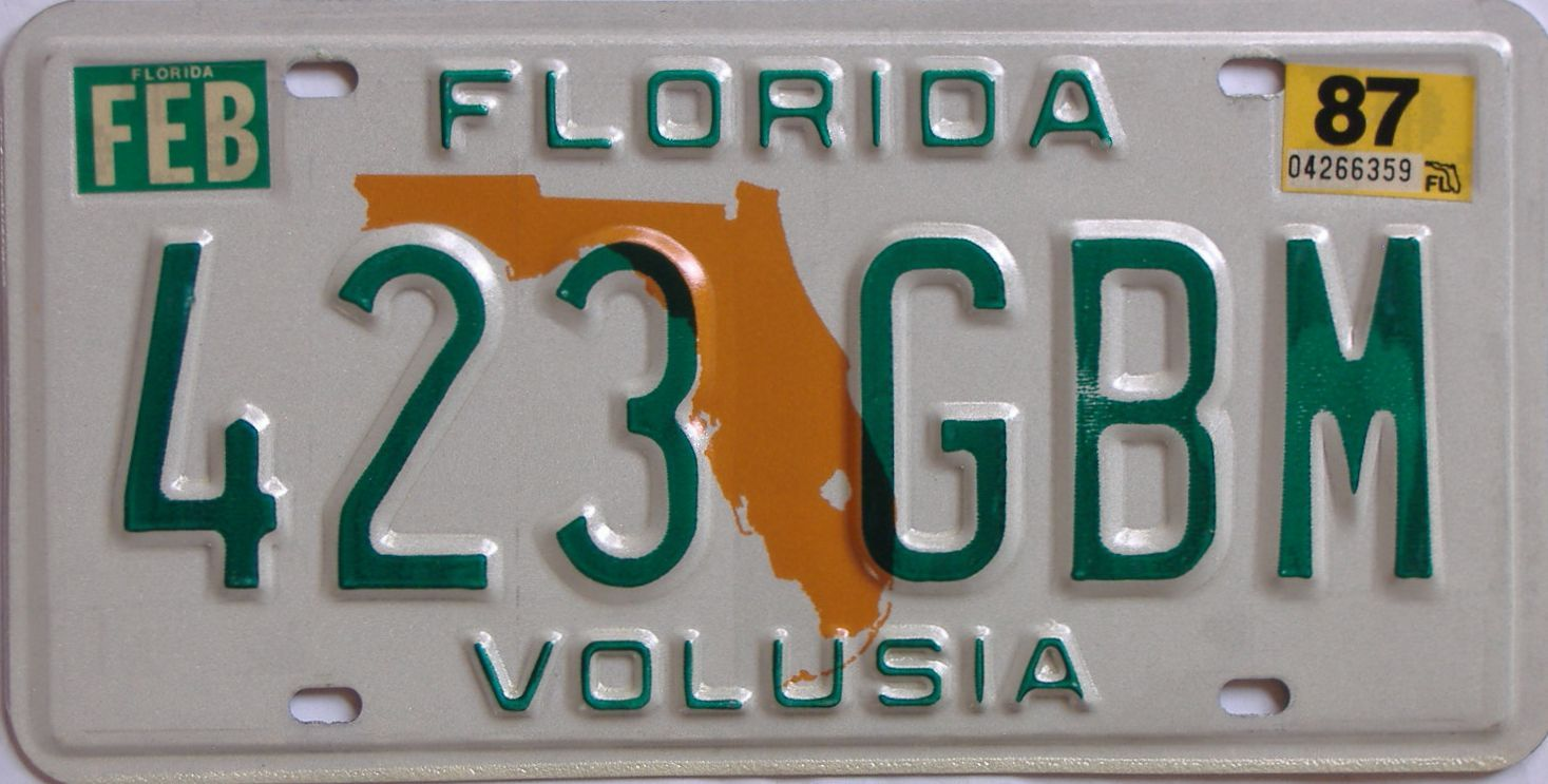 1987 Florida license plate for sale