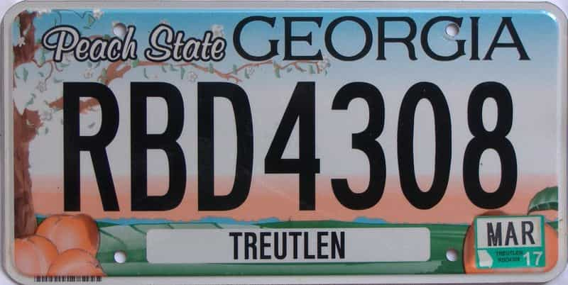 2017 GA license plate for sale