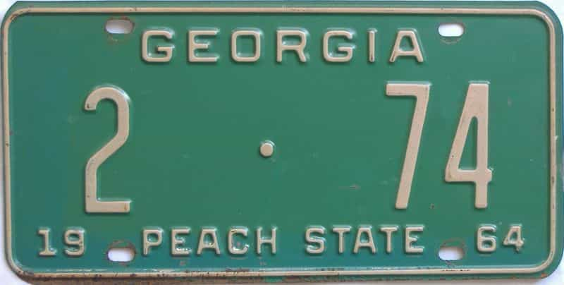 YOM 1964 GA license plate for sale