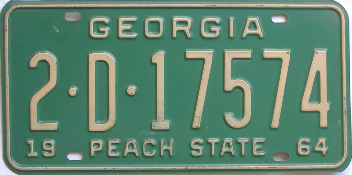 YOM 1964 Georgia license plate for sale