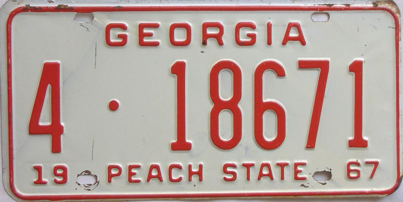 YOM 1967 Georgia license plate for sale