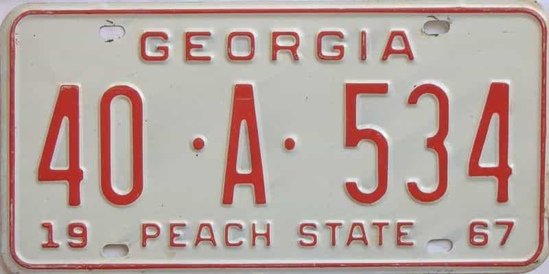 YOM 1967 GA license plate for sale