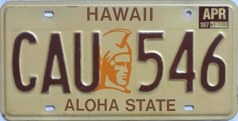 1987 HI (Natural Single) license plate for sale