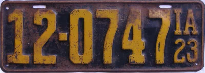 1923 Iowa (Single) license plate for sale