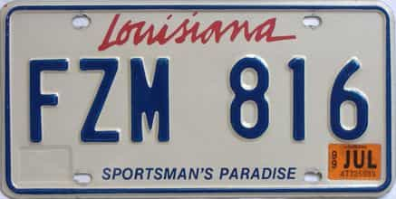 1999 Louisiana  (Natural) license plate for sale