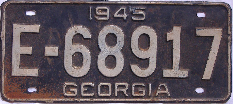 YOM 1945 Georgia license plate for sale