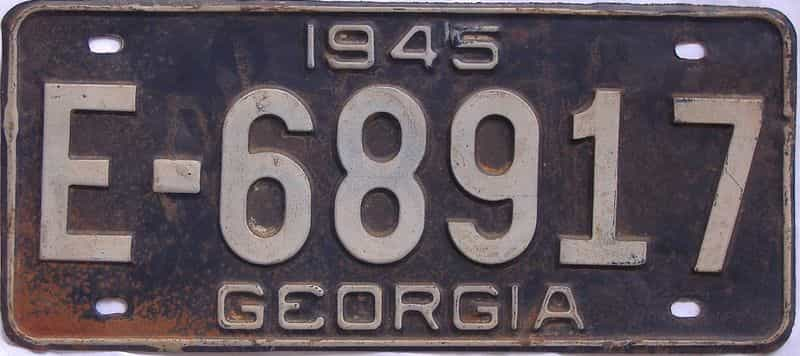 YOM 1945 Georgia license plate for sale