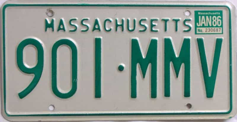 1986 MA (Natural) license plate for sale