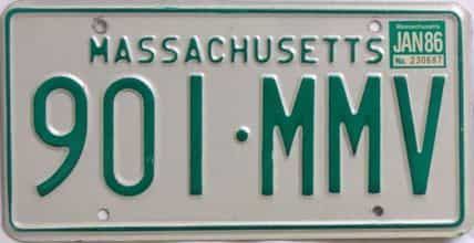 1986 Massachusetts (Natural) license plate for sale