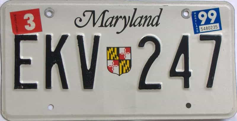 1999 Maryland (Single) license plate for sale