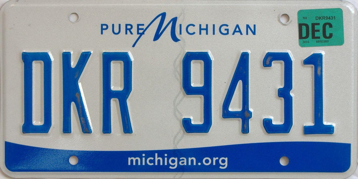 2016 Michigan license plate for sale