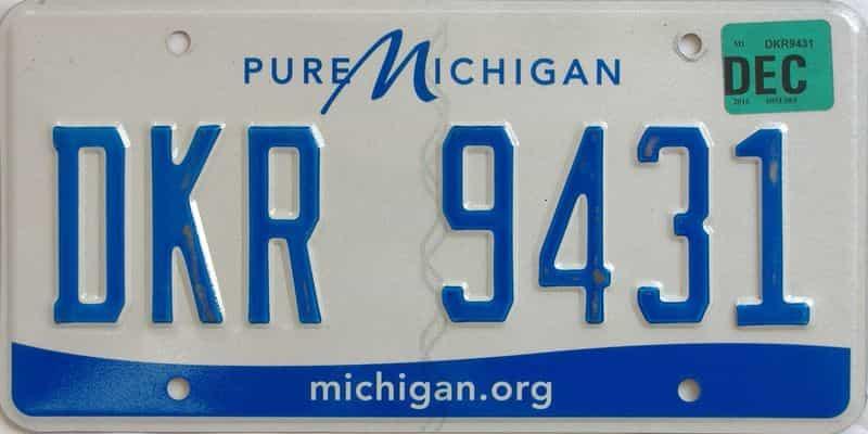 2016 MI license plate for sale