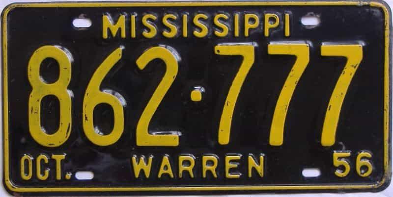 1956 Mississippi license plate for sale