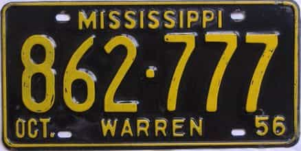 1956 Mississippi license plate for sale