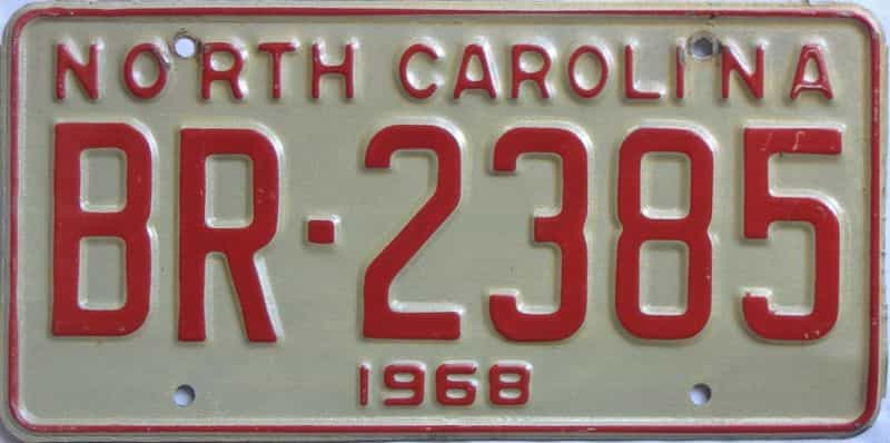 1968 North Carolina license plate for sale