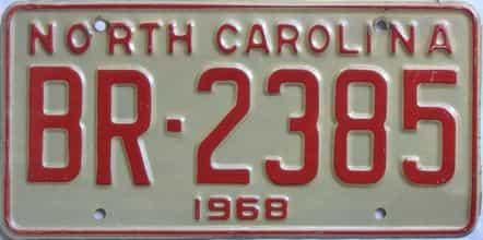 1968 North Carolina license plate for sale