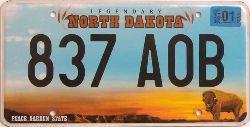 2017 ND (Natural Single) license plate for sale
