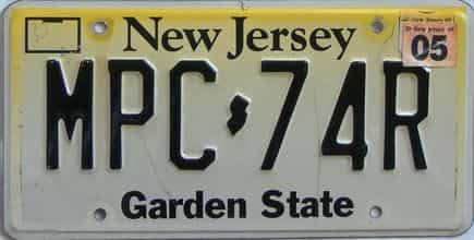 2005 New Jersey (Single) license plate for sale