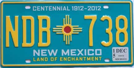2015 New Mexico (Natural) license plate for sale