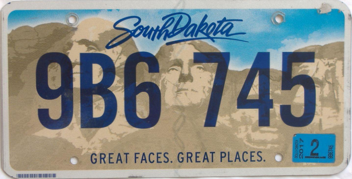 2017 South Dakota (Natural Single) license plate for sale
