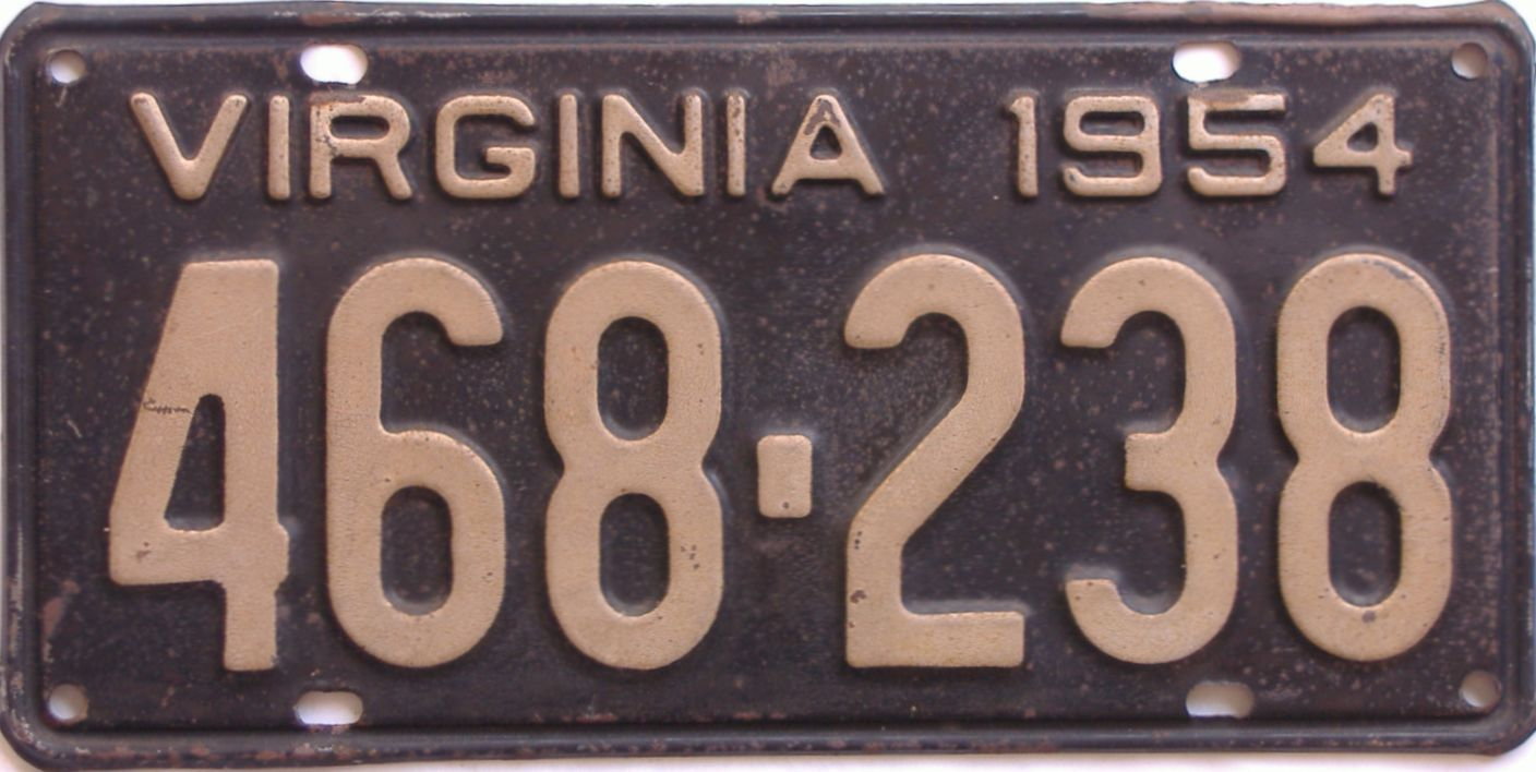 1954 Virginia (Single) license plate for sale