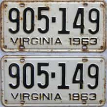 1963 Virginia (Pair) license plate for sale