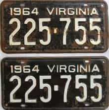 1964 Virginia (Pair) license plate for sale