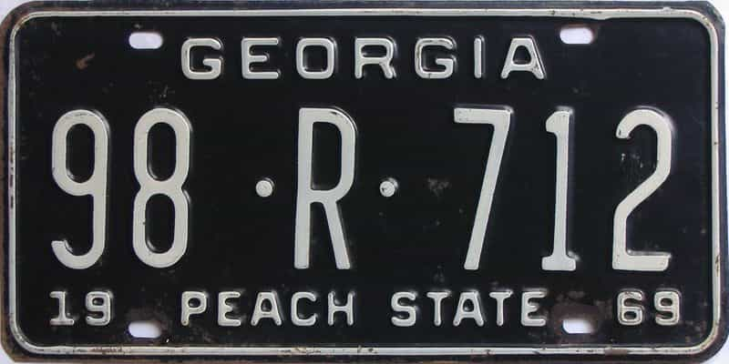 YOM 1969 GA (Truck) license plate for sale