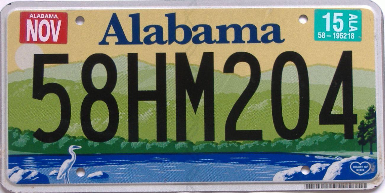 2015 Alabama (Natural) license plate for sale