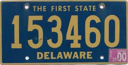 2000 Delaware license plate for sale