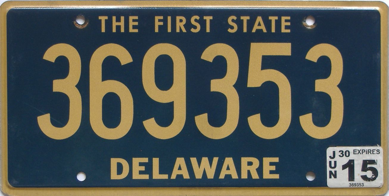 2015 Delaware license plate for sale