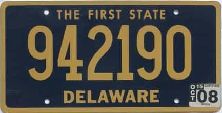 2008 Delaware (Natural) license plate for sale