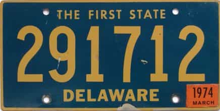 1974 Delaware license plate for sale