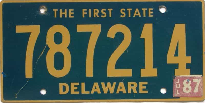 1987 DE license plate for sale