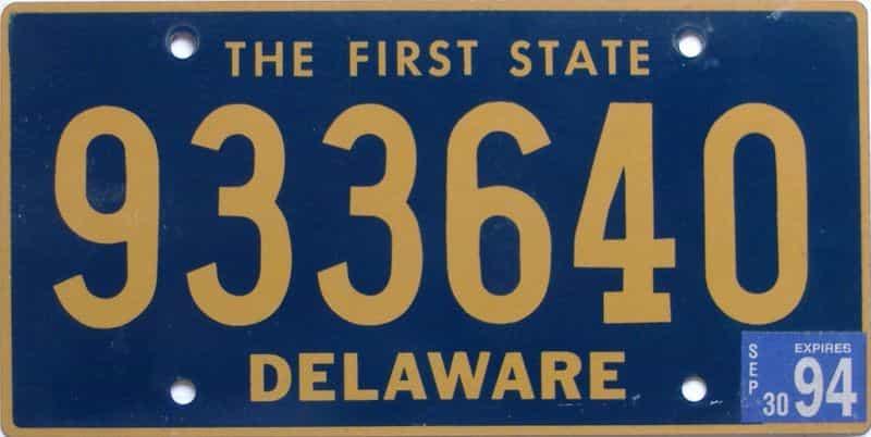 1994 Delaware (Natural) license plate for sale