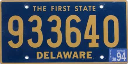 1994 Delaware (Natural) license plate for sale
