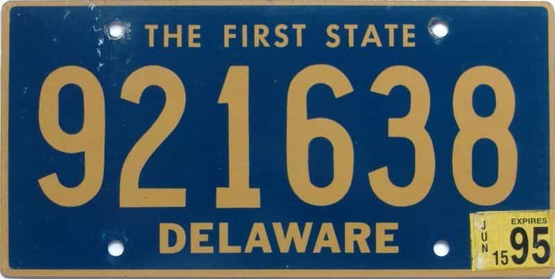 1995 Delaware license plate for sale
