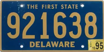 1995 Delaware license plate for sale