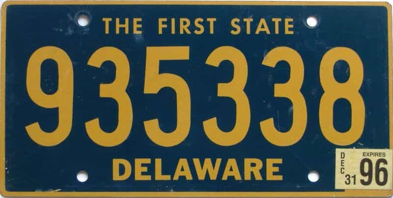 1996 Delaware (Natural) license plate for sale