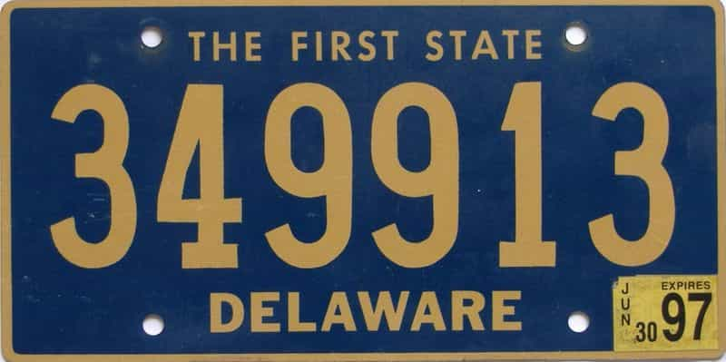 1997 Delaware license plate for sale