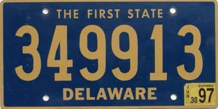 1997 Delaware license plate for sale