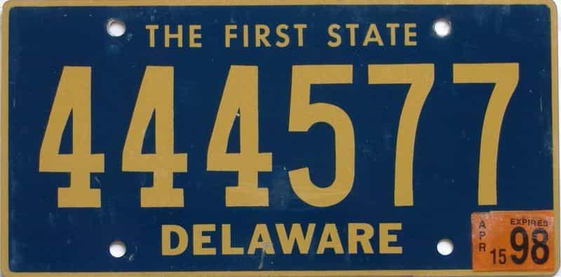 1998 DE license plate for sale