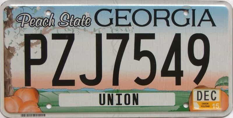 2015 GA (Natural) license plate for sale