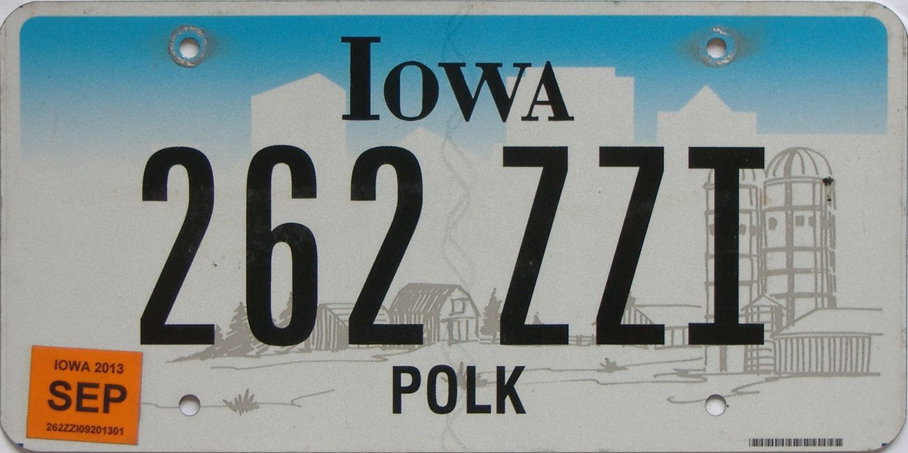 2013 Iowa (Natural Single) license plate for sale