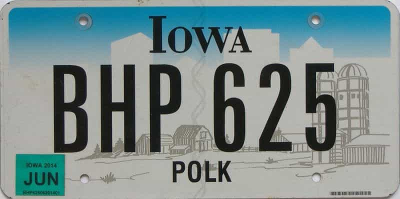 2014 Iowa (Natural Single) license plate for sale