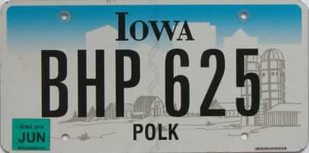 2014 Iowa (Natural Single) license plate for sale